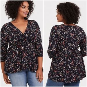 Super Soft Black Floral Surplice Babydoll Top